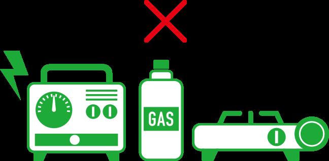 発電機、カセットコンロ使用禁止